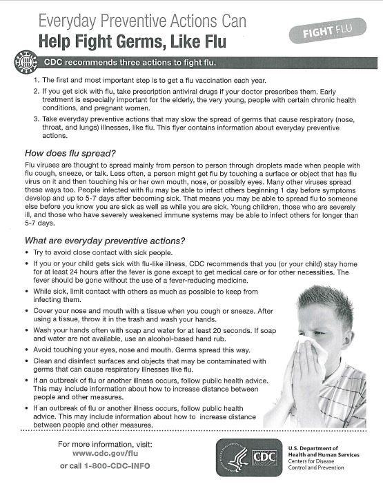 CDC Flu Recommendations